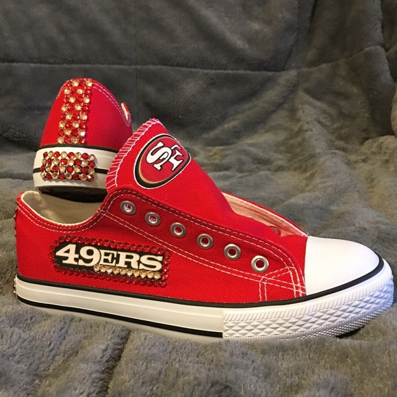 f0517032495673 NFL 49ERS BLING CONVERSE-LIKE WOMENS SHOES!!!